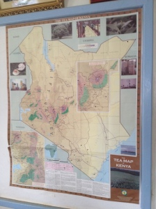 Tea map of Kenya in the board room