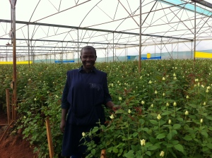 Production Manager of Jambo farms explaining how her flowers are cultivated
