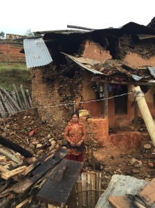 Nepalese woman outside her destroyed home in Kavre, Nepal (pic Rajeev Goyal)