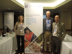 ITC staff Alex Kasterine and Martina Bozzola and Mr Vuong Mahn from the Viet Nam CITES Management Authority after side event.